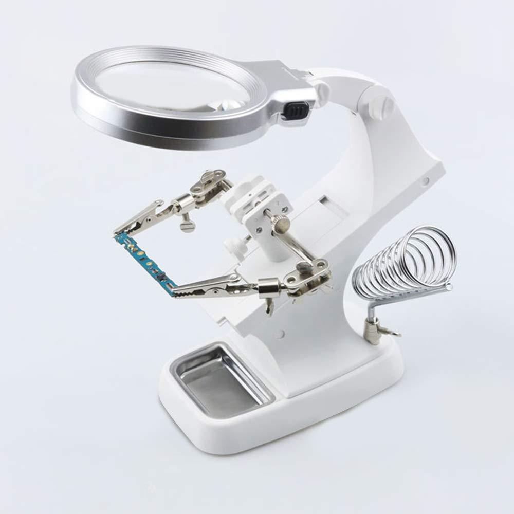 herramienta de reparaci/ón l/ámpara de soldar 3 x // 4,5 lupas soporte con pinza jeerbly Lupa LED multifuncional