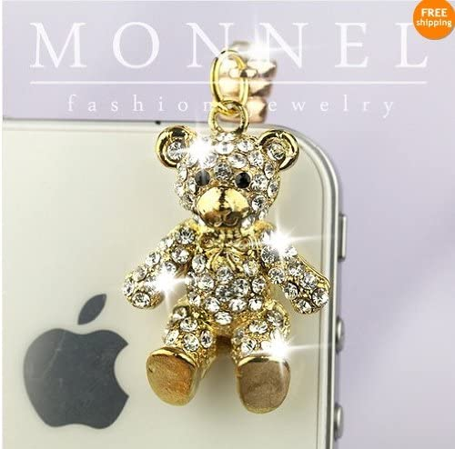 IP391-B Gold Crystal Teddy Bear 3.5mm Ear Jack Anti Dust Plug Cover For iPhone /& Android