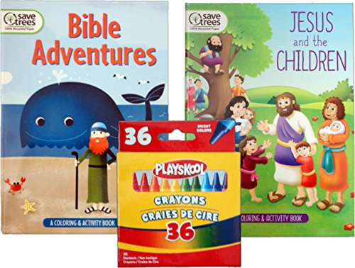 The Holy Bible Coloring and Activities Books Bundles with a 36 Pack of Playskool Crayons