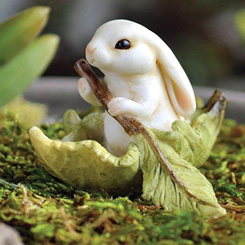 Miniature Dollhouse FAIRY GARDEN ~ Bunny Leaf Boat :New (Halloween Bunny Makeup)