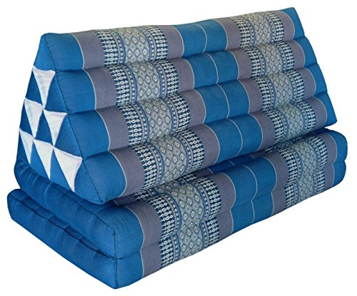 Thai triangle cushion XXL, with 2 folding seats, blue/grey, sofa, relaxation, beach, pool, meditation, yoga, made in Thailand. (81917) by Wilai GmbH