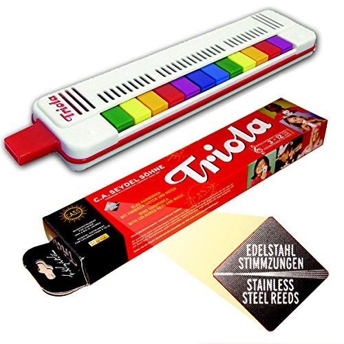 TRIOLA 12 - NEUE AUSFÜHRUNG: jetzt mit SEYDEL´s bewährten, haltbaren EDELSTAHL-STIMMZUNGEN !- das Blasinstrument für Kinder mit Spielanleitung + 4 Kinderliedern mit bunten Noten zum Schnelleinstieg