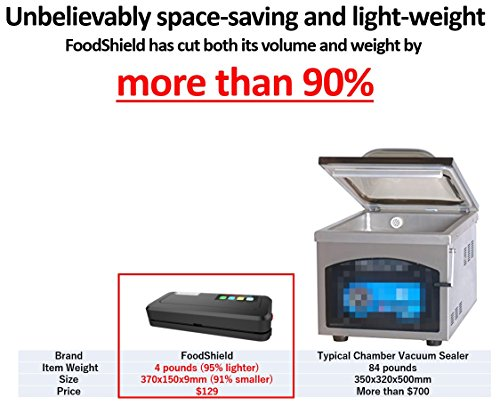 Works with Ziploc! & Vacuum chamber pouches! FOOD SHIELD reduces your running costs by up to 90%. It can even pack liquids and powders. Next Generation Vacuum Sealer. (Main product (Flagship model))