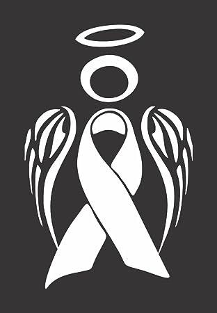 Amazon Lung Cancer Awareness White Angel Ribbon Logo Vinyl