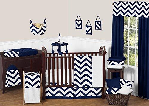 Navy Blue and White Chevron ZigZag Unisex Baby Bedding 11 Pi