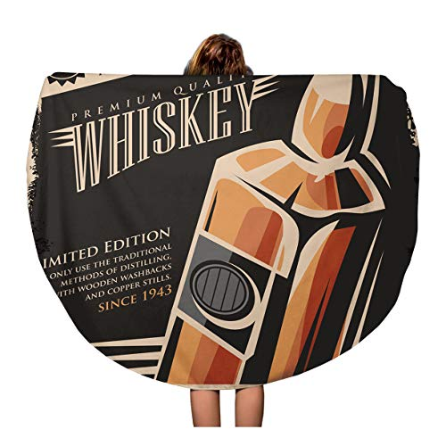 - Pinbeam Beach Towel Bottle Whiskey Vintage Retro Drink Creative Promotional Travel 60 inches Round Tapestry Beach Blanket