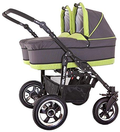 Carro gemelar 3 piezas. Capazos+sillas+grupo 0+accesorios. Verde-gris: Amazon.es: Bebé