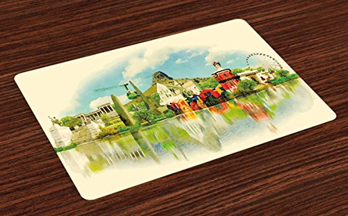 Lunarable Watercolor Place Mats Set of 4, Landscape Paiting Vector Cape Town City Scenery with Touristic Places Image, Washable Fabric Placemats for Dining Room Kitchen Table Decoration, Multicolor