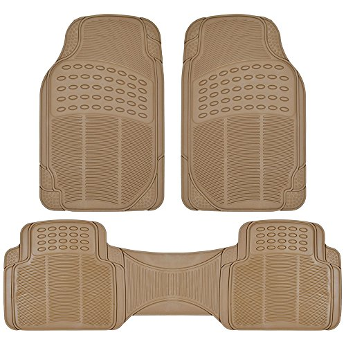 Heavy Duty Truck Mats - BDK Heavy Duty Rubber Floor Mats - Universal for Car Truck SUV - Full 3pc Set in Beige