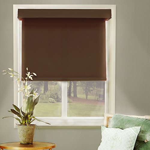 Chicology Free-Stop Cordless Roller Shades / Blind Curtain Drape, No Tug, Thermal, Room Darkening - Mountain Chocolate, 31