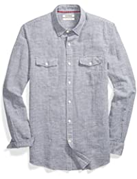 Men's Slim-Fit Long-Sleeve Linen and Cotton Blend Shirt