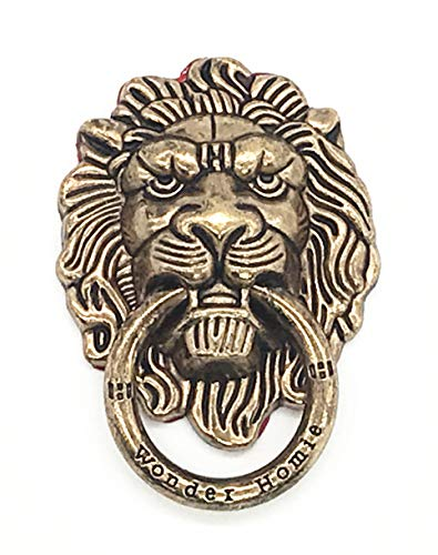 - Lion Pattern Cell Phone Ring Stand Holder Colorful Cute Pattern Painted Universal Metal Buckle Finger Ring Kickstand Compatible Various Smartphones Tablet Or Phone Cases (Coppery)