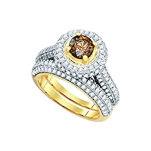 14k Yellow Gold Womens Cognac-brown Colored Diamond Bridal Wedding Engagement Ring Band Set ((2.00 cttw.) (I1-I2)