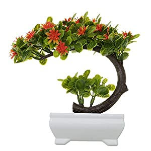 Mmrm Artificial China Aster Bonsai Fake Blossom Flower Potted Plant Home Decor Orange Red 68