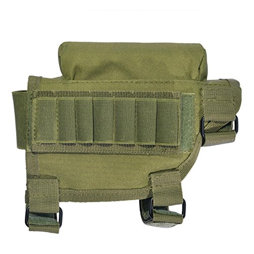 Tactical Buttstock Cheek Rest with Ammo Holder for Hunting Outdoor Sport … (Green)
