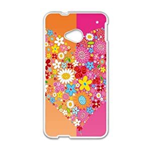 Attrative flowers heart personalized creative custom protective phone case for HTC M7