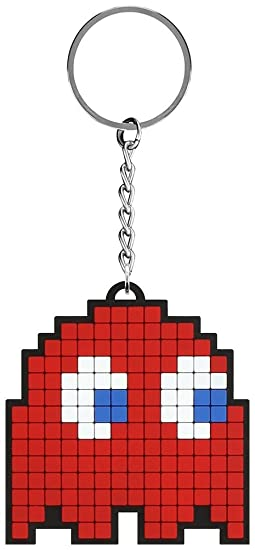 Pac-Man Game Blinky Pixelated Character Rubber Keychain Ring ...
