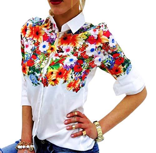 Imprime Hauts Manches et Tee Printemps T Shirts Longues Shirts Chemises Tops Fashion pissure Chemisiers Revers Blanc Casual Femmes Blouse Automne xX6qnp68