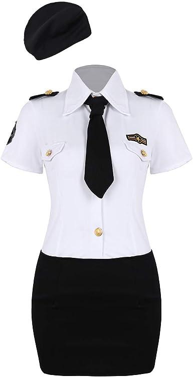 Agoky Disfraz de Policía Mujer Uniforme Cosplay Traje Monitor Camisa Blanca con Mini Falda Corbata Sombrero Juego Adulto Ropa de Dormir Disfraces Sexy Club: Amazon.es: Ropa y accesorios