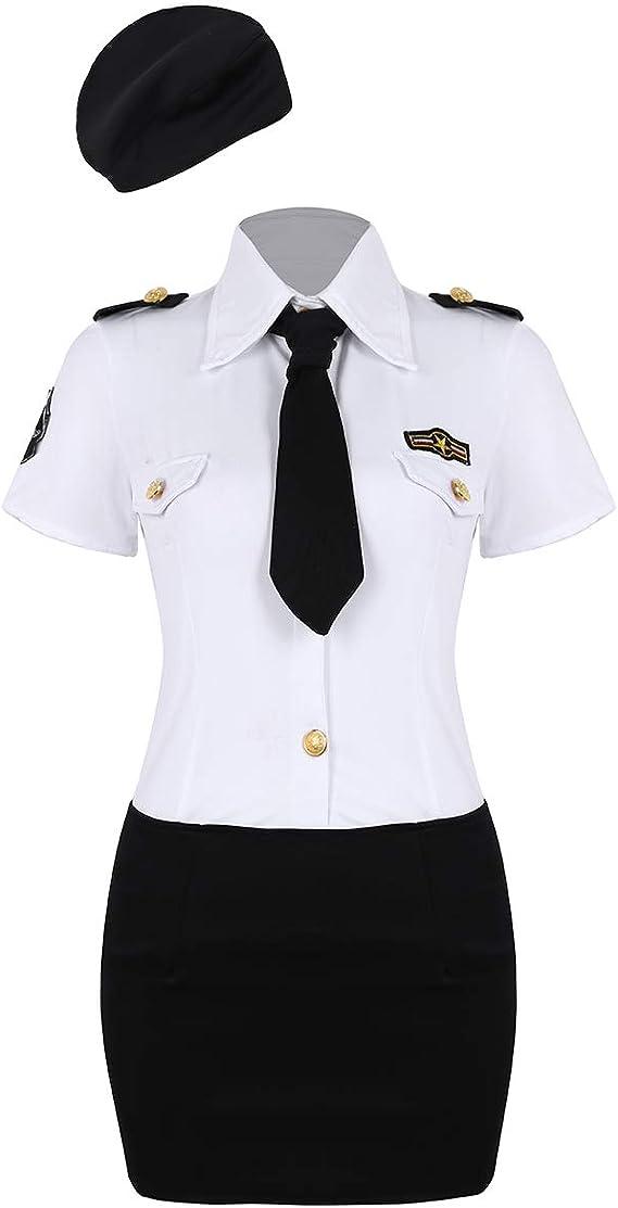 Freebily Uniforme de Mujer Policía Funcionaria Cosplay Costume Disfraz Mujer Sexy Eróticas Blusa Blanca de Manga Corta Falda Corta Negro con Corbata: Amazon.es: Ropa y accesorios