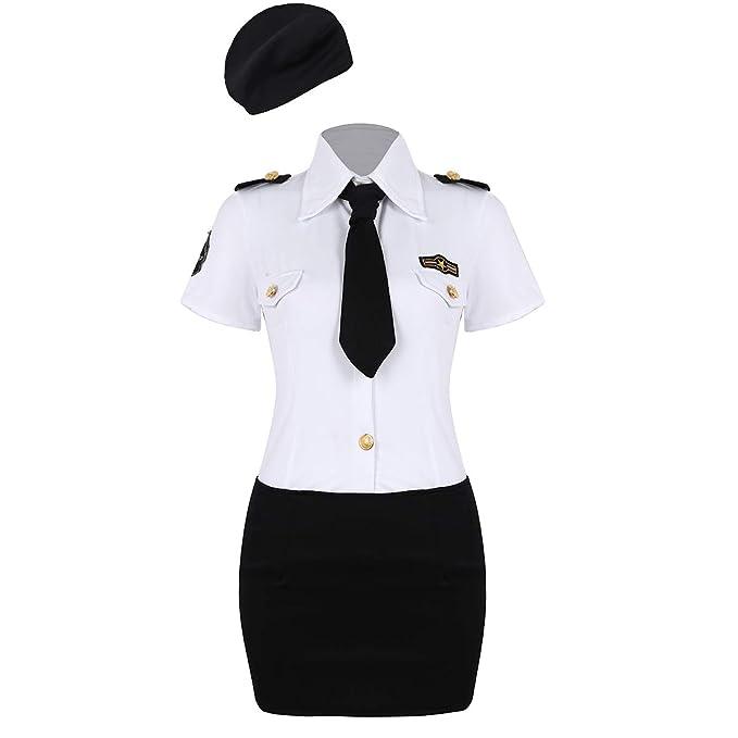 Agoky Disfraz de Policía Mujer Uniforme Cosplay Traje ...