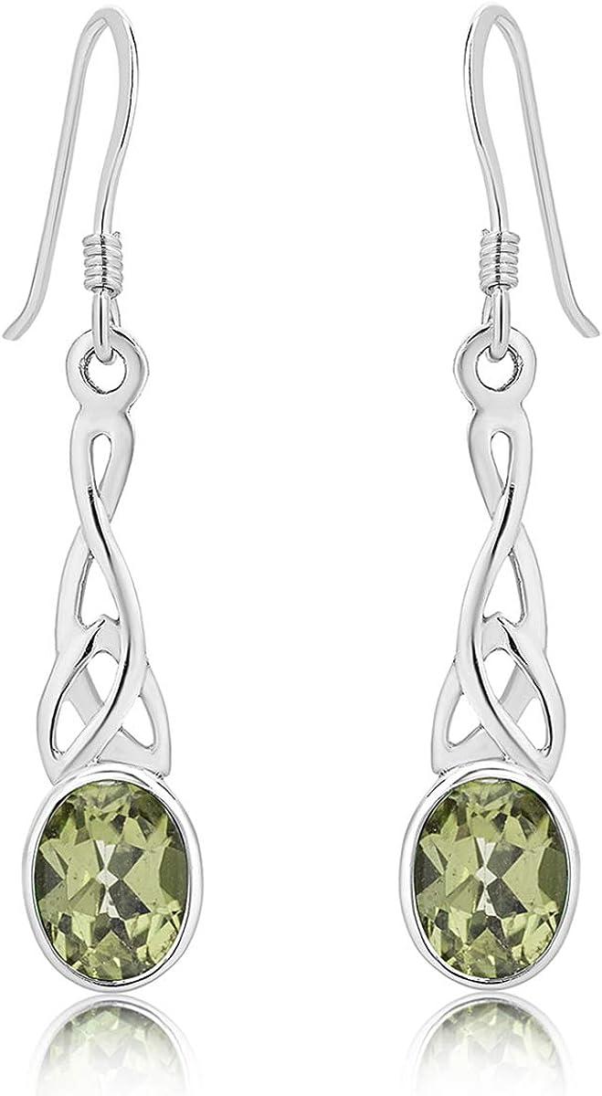 DTP Silver – Pendientes Colgantes de Plata 925 con Gancho - Nudo de la Trinidad Celta - Colección Celta - Varias piedras Naturales Semipreciosas