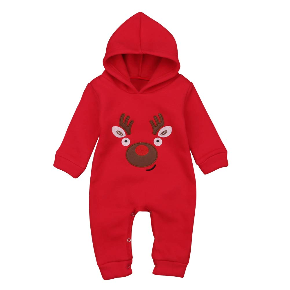 chinatera Newborn Baby Christmas Hooded Rompers Infants Cartoon Elk Warm Jumpsuit Clothes Winter Fall;