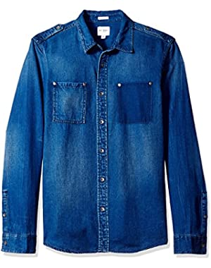 Men's Regular Fit Opulent Blue Wash Denim Shirt
