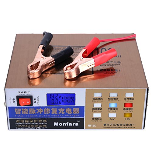 Smart Car Battery Charger Intelligent Pulse Repair Type Maintainer 110V/220V Full Automatic Electric Led Display 12V/24V 100AH(Gold)