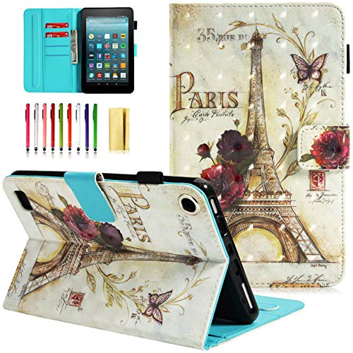 UUcovers All New Amazon Fire 7 Inch Case (7th Gen, 2017 Release Only), Slim Lightweight PU Leather AUTO WAKE/SLEEP Wallet Case with Cards/Cash Holder for Amazon Kindle Fire 7-Paris Tower (Card Case For Amazon Fire Phone)