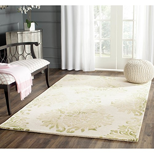 Safavieh Dip Dye Collection DDY516B Handmade Watercolor Vintage Erased Weave Medallions Beige and Green Wool Area Rug (5' x - Accent White Transitional Rug