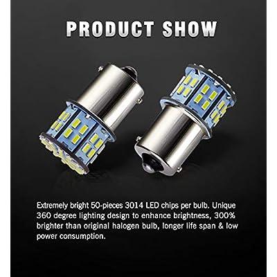 Antline 1156 1141 1003 7506 BA15S LED Bulbs White 20-Packs, Super Bright 3014 50-SMD LED Replacement for 12 Volt RV Camper Trailer Boat Trunk Interior Lights: Automotive