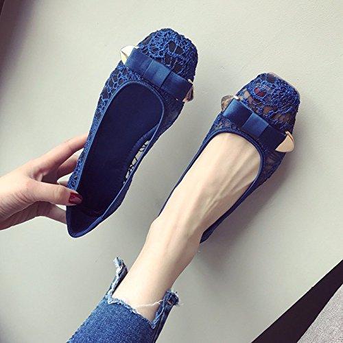 Mujer KPHY Hueco Inferior C Zapatos Parte Cuadrada Aliento Plana Pretty Butterfly Y Cabeza de Zapatos Sin Summer Tenis qRtAB1