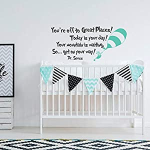 Dr Seuss Vinyl Wall Decal Decor You're Off to Great Places! Today is Your Day! - Nursery Vinyl Wall Decal- Dr Seuss Graduation Vinyl Wall Decal Decor Quote for Kids Made in USA