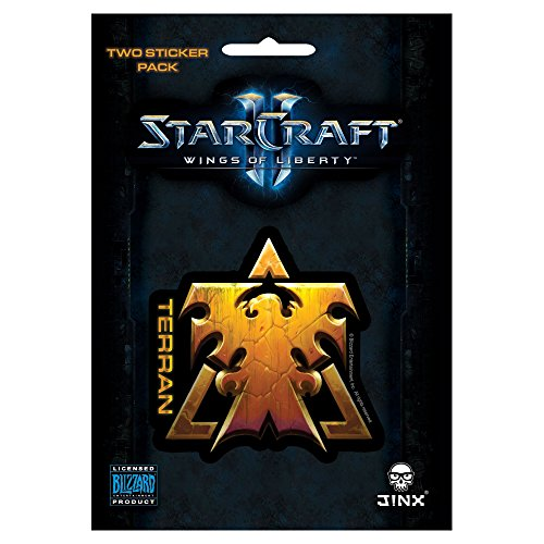 JINX StarCraft II: Wings of Liberty Terran Sticker (Gold, 2 Multi-Size - 2 Figures Starcraft Action
