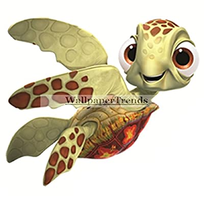 "4"" Squirt Turtle Finding Nemo 2 Movie Removable Peel Self Stick Wall Decal Sticker Art Bathroom Kids Room Walt Disney Pixar Home Decor Boys Girls 3 3/4 inches wide by 3 1/4 inches tall"