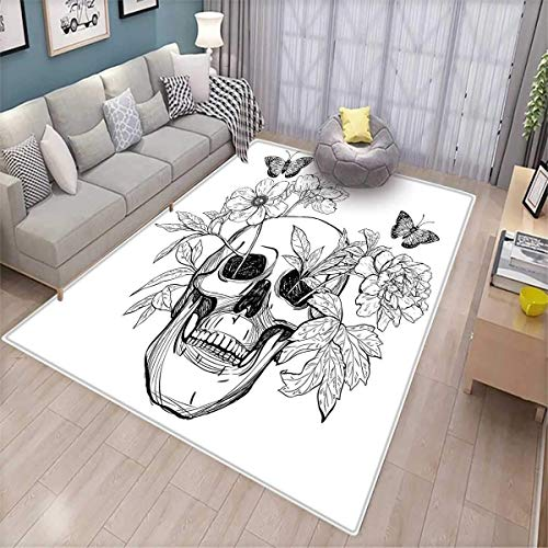 - Day of The Dead Floor Mat for Kids Skull with Flower Blooms and Butterflies Vintage Gothic Design Print Bath Mat Non Slip Black and White