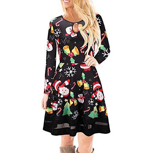 GOVOW Women's Christmas Santa Claus Print Pullover Flared A Line Dress Ladies Long Sleeve Mini Dress -