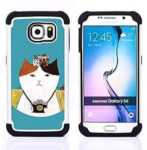 """Pulsar ( Cámara Fotográfica Fotografía Gatito Gato"""" ) Samsung Galaxy S6 / SM-G920 SM-G920 híbrida Heavy Duty Impact pesado deber de protección a los choques caso Carcasa de parachoques [Ne"""