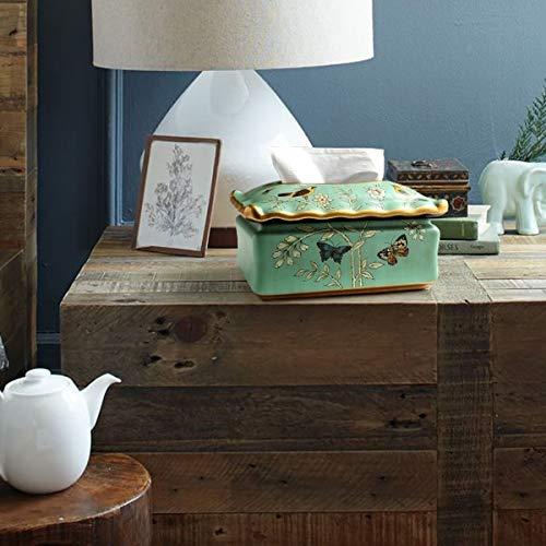 Nosterappou American Ceramic Hand-Painted Decorative Retro Tissue Box Decoration, Bedroom Coffee Table, Tray, Napkin, Decorative Space