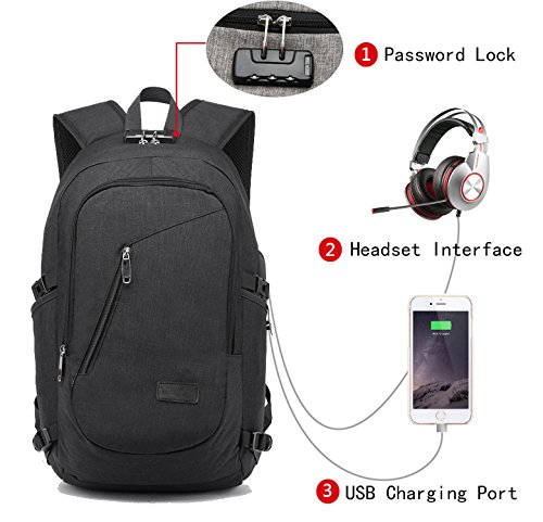 FLYMEI Laptop Backpack with USB Charging Port and Lock & Headphone Compartment, Fits 12-16 inch laptop and Notebook, Waterproof School Rucksack Business Knapsack Travel Daypack College Bookbag , Black