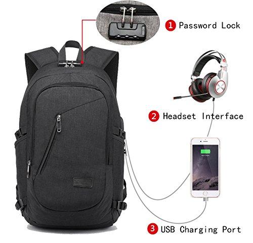 Travel Outdoor Computer Backpack Laptop bag 16''(black) - 5