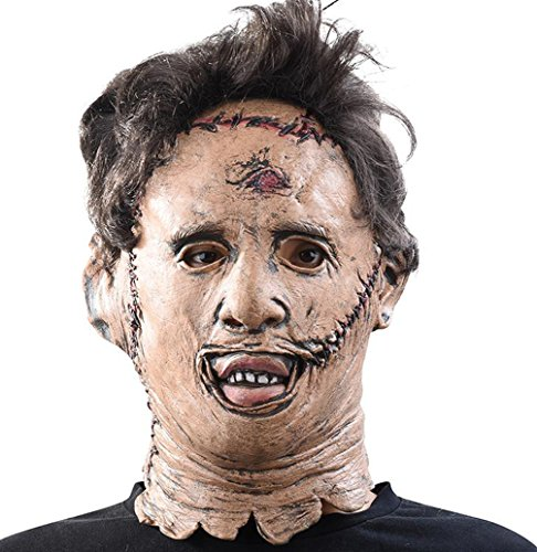xcoser Leatherface Mask Scary Helmet with Wig Hair Accessories for Halloween Party -