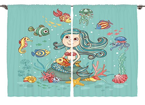 Ambesonne Childrens Room Decor Collection, Under the Sea The