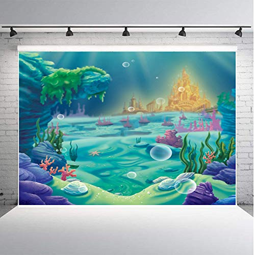 - Qian Photography Backdrops Birthday Party Decoration Supplies Photo Booth Under The Sea Little Mermaid Seabed Castle Background Coloured Coral 7x5ft Studio Props Vinyl