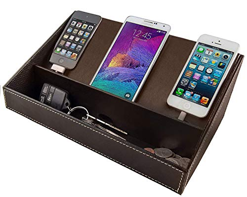 Charging Station for Multiple Devices, Desk Docking Station Organizer for Cell Phone, Tablet - Phone Organizer Station for iPhone, Samsung Galaxy, Google Pixel (Brown)