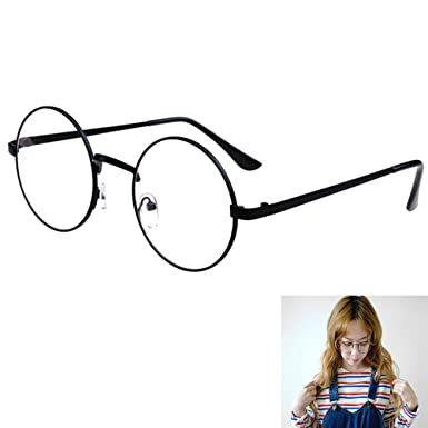 a27c64f1cf Amazon.com  Women Retro Clear Lens Round Glasses Classic Metal Oversized Frame  Eyeglass Black  Clothing