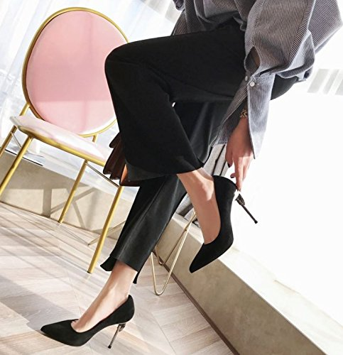 Fine Heel Single Heel MDRW Shop Water Leisure Sharp Shoe Shallow 38 Black Drill Work Night Lady Elegant Sexy 10Cm Heels Spring qwxv0qz8r