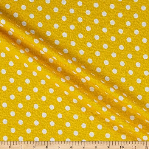 Yellow Polka Dot Fabric - Fabric Liverpool Double Knit Polka Dot Fabric, Yellow/Ivory, Fabric By The Yard