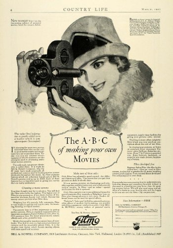 1927 Ad Bell Howell Filmo Antique Movie Camcorder Camera Eastman Safety Film - Original Print Ad by PeriodPaper...